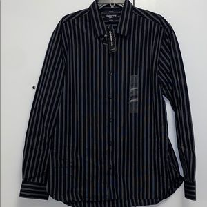 Claiborne Black and Gray Striped Dress Shirt